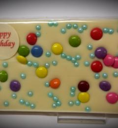 Grußtafel Happy Birthday Weiße Schokolade